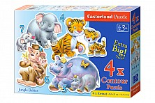 4x1 Puzzle Konturowe Jungle Babies